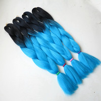 Wholesale Extensions Light Blue - 100% Kanekalon Jumbo Braiding Synthetic Hair Soft Dreads Box Braid Extension 24inch Black&Light Blue# Ombre Two Tone Color braid