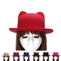 Wholesale Cat Top Hat - Brand new Autumn and winter bow cat ears small hat lady imitation wool woolen hat fashion hat ceremony cap WMB009