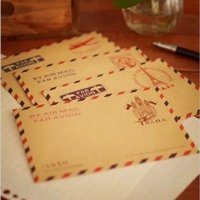 Wholesale one bag Mini Retro Vintage Postal Eiffel Tower Kraft Paper Envelope for Wedding Korean Stationery