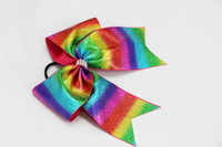 Wholesale Blue Cheer Bows - 7style available 7inch Large Metalic Foil Rainbow Holographic shiny Bling Cheer Bows With Elastic Band For Girls Cheerleading Dance 20pcs
