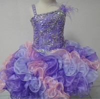 Wholesale Girls Ball Gown Tone - Cupcake Baby Girl Pageant Dresses 2017 Little Roise 3 Tones Ruffles Skirt & Major Beading Bodice Real Photos Glitz Toddler Pageant Dress
