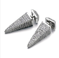 Wholesale earring needles - 2017 new European 925 silver needle Triangle cone earrings female crystal from Swarovski simple temperament wild anti-allerg