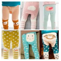Wholesale Soft Cotton Baby Boy Pants - Baby Leggings Stripe Fox Boys Girls Elastic Cotton Soft Girls Animal PP Pants Kids Tights 8 Styles Free Shipping