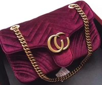 Wholesale Christmas Closures - Women Marmont Chevron Velvet Shoulder Bag,AAAAA Quality,Double G Closure,come with dust bag Box,Free Shipping