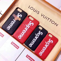 Wholesale bottom case - High brand luxury brand leather card slot phone shell case for the iPhone X 7 7 8 8 hard bottom cover for the iPhone 66S 6 plus