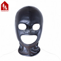 Wholesale Tight Leather Bondage - Davidsource Zipper Tight Fit Black Elastic Leather Full Head Eyes Mouth Hollow Hood Bondage Slave Pig Head Gear Restraint