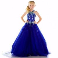 pretty dresses flower beads großhandel-Würdig Royal Blue Perlen Strass Hübsch Tüll Blumenmädchenkleider für Hochzeiten Heilige erste Kommunion Pageant Kleider