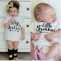 Wholesale Matching Family Clothes - BIG SISTERS LITTLE BROTHERS Funny Letters Print Family Matching T-shirt Short Sleeve Cotton Sister Brother Matching Clothes