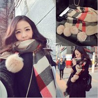 Wholesale Scarves Balls - Best Sale High Quality Fashion Brand DesignerPlush Ball Winter Pom Pom Cashmere Plaid Scarf Winter Women Shawl Pashmina Cape Blanket Plaid
