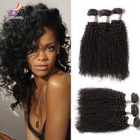 Wholesale Brazilian Beautiful Women - Beautiful afro kinky curly hair for Africa Woman 3 bundles lot Indian Peruvian Brazilian virgin curly hair extensions bohemian curl weave