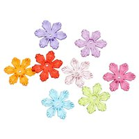 Wholesale 24mm Acrylic Beads Wholesale - 8SEASONS Acrylic Beads Caps Flower At Random (Fits 14mm Beads) 28mm x 24mm,200 Pcs