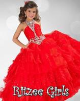 Wholesale Daminha Organza - vestido primera comunion 2015 red ball gown pageant dresses for little girls vestido daminha flower girl dress