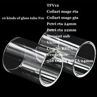 Wholesale Glass Petri - TFV12 Coilart mage RTA GTA Petri 22mm 24mm Serpent sub Vicino Combo RDTA Vengeance 528 GOON Replacement Pyrex Glass Tube for Smok Wismec