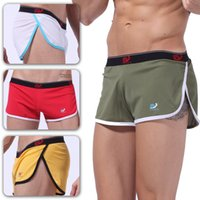 Wholesale Men White Mesh Underwear - Sexy Men Mesh Underwear Boxer Shorts Mens Trunks Breathable Quick Dry Summer Underpants Side Slit Design Home Sleepwear Boxers