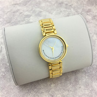 Wholesale Sexy Lady Water Color - Fashion Women watches Smile Dial Face Golden Color Belt Luxury High Quality Lady Quartz Female Clock Free shipping Steel Bracelet Chain Sexy