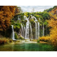 Wholesale Landscape Waterfall DIY Diamond Painting D Diamond Mosaic Cross Stitch Needlework Home Living Room Decoration