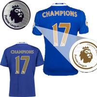 Wholesale Chelsea Jersey Shorts - Chelsea EPL champions jersey 2017 HAZARD home Premier League Chimpions 17 Commemorative Edition blue soccer jersey