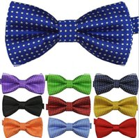 Wholesale Party Supplies Polka - new Children'S ties boy's girl's bow tie fashion baby bow tie polyester yarn material kids shirt dots tie party supply 16 colors