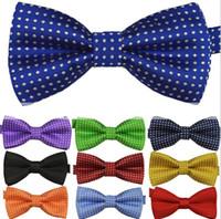 iplik yay toptan satış-Yeni Çocuk 'S bağları çocuğun kızın papyon moda bebek papyon polyester iplik malzemesi çocuklar gömlek nokta kravat parti tedarik 16 renkler