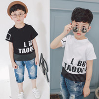 Wholesale Undershirt Child Boy - Boys Short Sleeve T Shirt 2017 new Summer Baby Clothes Children letter cotton Printed undershirt kids tops Cool Shirts best Tee Shirt A442
