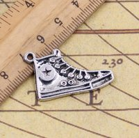 Wholesale Shoes Tibetan Silver Charms - Wholesale- Charms basketball shoes 50pcs 30mm Tibetan Silver Plated Pendants Antique Jewelry Making DIY Handmade Craft