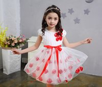 Wholesale Girls Red Gauze Dress - 2017 new summer dress children Flower Princess Dress Girls gauze skirt short sleeved dress