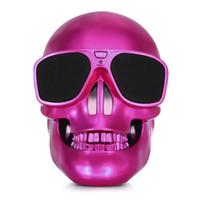 Wholesale Cool Phone Speakers - Wireless Bluetooth Speaker NEW Portable Plastic Metallic Skull Sunglass NFC Subwoofer Shape Speaker Cool Skull Speaker for Phone