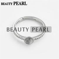 Wholesale 925 Silver Semi Mount - Bulk of 3 Pieces Pearl Ring Semi Mount Findings 925 Sterling Silver Zircon Ring Blank Base