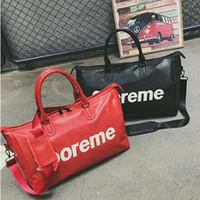 Wholesale korean style casual large handbags - 2 Colors Korean Style Letter Duffel Bags Women Handbags Large Capacity Travel Duffle Bags Waterproof Beach Bag PU Shoulder Bag CCA8295 10pcs