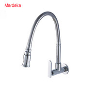 Wholesale Wall Mounted Kitchen Faucets Copper - Wholesale- Free Shipping Copper Chromed Single Cold Taps Kitchen faucet Vegetables Basin Faucet With Spring Spout