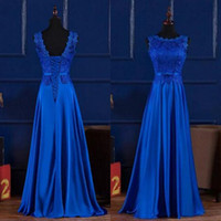 Wholesale White Silk Black Lace Corset - 2017 Newest Royal Blue Bridesmaid Dress Long Formal Bateau Neckline Sleeveless Corset Wedding Guest Dress Floor Length Bow Sash