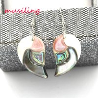 Wholesale Pink Shell Drop Earrings - Natural Abalone Shell Popcorn Drop Earrings Horse Eye Heart Oval Fashion Charms Jewelry For Women musiling Jewelry