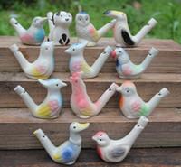 seramik sırlar ücretsiz gönderim toptan satış-200 adet yeni varış su kuş düdük kil kuş seramik Sırlı kuş düdük-tavuskuşu Kuşlar Ücretsiz Kargo