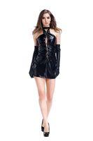 Wholesale Ladies Black Dress Gloves - Sexy Women Night Club Dress Ladies PU Patent leather Dress Sleeveless But Have Gloves Clubwear Sexy Dress Black
