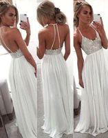 vestidos largos de gasa blanca. al por mayor-2018 Halter blanco vestidos largos de noche de gasa con cuentas vestidos de noche formales vestidos de baile Vestido De Noite