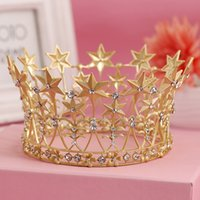 Wholesale Full Pageant Crown Tiaras - Baroque Large Gold Color Full Circle Crowns Crystal Star Tiara Crown Wedding Pageant Hair Accessories Bridal Hair Jewelry