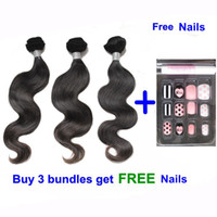 Wholesale Get 26 Inch Hair Extensions - Body wave hair weaves remy human hair extension 10-26inch natural color dyeable double weft Brazilian hair bundles 3pcs get free nails