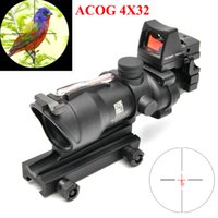 Wholesale Acog 4x32 Rmr - Trijicon ACOG 4X32 Sight Scope Real Red Fiber Source Red Illuminated Rifle Scope w  RMR Micro Red Dot Sight