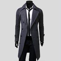çift göğüslü trençkot ceket erkek kış toptan satış-Toptan-2016 Yeni Erkek Trençkot Slim Erkek Uzun Ceket Ve Mont Palto Kruvaze Trençkot Erkekler Rüzgar Geçirmez Kış Kabanlar