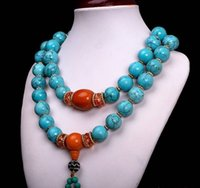 China Colecionáveis ​​Handwork Turquesa Beeswax Toyed Prayer Bead Necklace