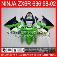 Wholesale Zx6r Factory Fairings - 8Gift For KAWASAKI NINJA ZX6R 98 99 00 01 02 ZX636 ZX-6R ZX-636 31HM18 factory green 600CC ZX 636 ZX 6R 1998 1999 2000 2001 2002 Fairing kit