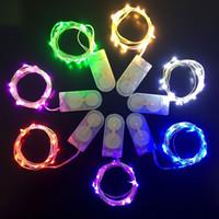 cable de luz led con pilas al por mayor-Luz de la secuencia del LED 1M 2M 3M Pequeña Batería Operado Luz LED Plata Alambre de cobre Luz de la secuencia para la fiesta de Navidad de Halloween decoración