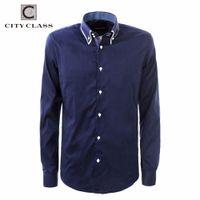Wholesale Class Clothes Men - Wholesale- CITY CLASS 2016 men dress eu size business shirts formal office brand clothing camisa masculina pure colar white blue 2971