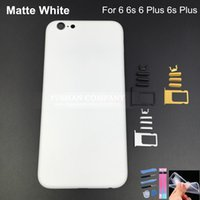 Wholesale Iphone Frame Metal Button - Matte White Housing For iPhone 6 6 Plus 6S 6S Plus Aluminum Alloy Replacement Parts Faceplates with Buttons for Apple Metal Frame