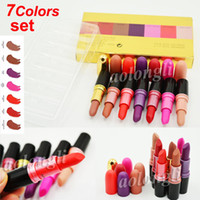 Wholesale Cosmetic M - New M Brand Makeup Luster Lipstick Limited Edition 7 Color Set bullet head Matte Lipsticks Frost lipstick long lasting lip kit Cosmetics