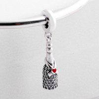 Wholesale Pandora Bottle Charm - Authentic 925 Sterling Silver Bead Charm Pave Bottle & Bow With Crystal Pendant Beads Fit Pandora Bracelet Bangle DIY Jewelry