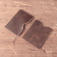 Wholesale Hand Made Leather Purses - women credit Hand made Genuine Leather Men's Personalized Business Card Holder Passport Covers Women Purse Cover For Auto Documents Casual