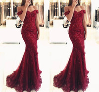 Wholesale Short Sexy Black Prom Dresses - New Elegant Off the Shoulder Beaded Mermaid Prom Dresses 2017 Short Sleeves Lace Appliques Floor Length Formal Evening Wear Custom Made
