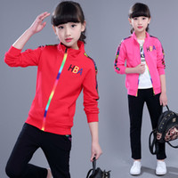 Wholesale Larger Children Clothes - 2017 HBA Children Sets boy girl clothing sets fashion sport suits zipper coat jackets+ long pants kids two piece larger-size