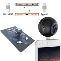 Wholesale andriod dual camera resale online - Pano Live I Pocket Mini Panoramic Camera Dual Angle FishEye Lens Micro USB Type C VR Camera for Andriod Smartphone